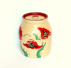 Yellow Ware Antique Cookie Jar Rare Collectible Handpainted Red Poppies