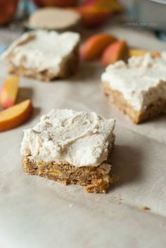 Peach cake with lots of fresh peaches and cinnamon and frosted with a ...