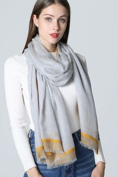 Say hello to the all natural, extremely soft and cashmere scarf, cashmere wrap, women's and men's cashmere scarf that spoil your neck from the original USA scarf company. Mens Cashmere Scarf, Cashmere Wrap, Long Lights, Grey Yellow, Womens Scarves, Autumn Winter Fashion, Pure Products, How To Wear, Shawls