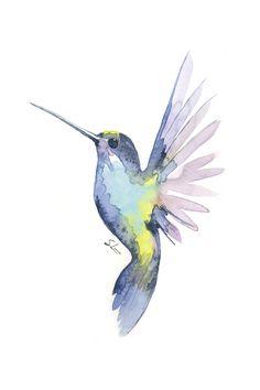 Watercolor / Acuarela Humming Bird - Colibrí (SabLenoir) Watercolor Hummingbird, Watercolor Bird, Watercolor Paintings, Watercolor Artists, Watercolor Portraits, Watercolor Landscape, Crow Painting, Painting Prints, Bird Artwork