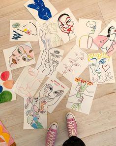by Elsa Hosk Art Sketches, Art Drawings, Arte Peculiar, Art Hoe Aesthetic, Images Esthétiques, Art Diary, Arte Sketchbook, Funky Art, Art Abstrait
