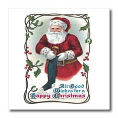 BLN Vintage Christmas Designs  Vintage Santa Claus Filling a Blue Stocking with Toys Christmas Card  10x10 Iron on Heat Transfer for White Material ht_153410_3 *** Find out more about the great product at the image link.