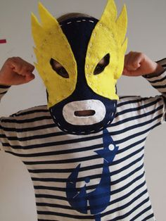 DIY Mexican wrestling mask craft kit by School of Craft.---woodland animals, super hero, etc. Baby Girl Halloween, First Halloween, Halloween Costumes For Kids, Whimsical Halloween, Spooky Halloween Decorations, Best Baby Costumes, Diy For Kids, Crafts For Kids, Mexican Mask