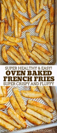 Baked French Fries are russet potatoes lightly coated with olive oil and seasoni… Baked French Fries are russet potatoes lightly coated with olive oil and seasoning and baked until they're warm and crispy, ready in under 45 minutes! Healthy French Fries, Oven Baked French Fries, Healthy Fries, French Fries Recipe, Homemade French Fries, Homemade Fries In Oven, Baked Fries Recipe, Baked Potato Fries, Sweet Potato Fries Healthy