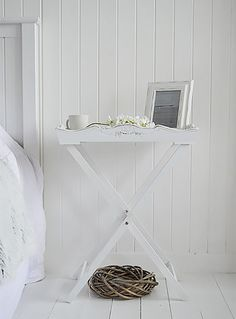 simple white bedside table
