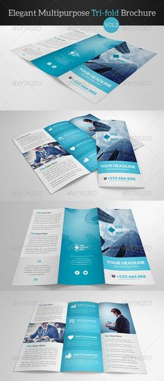Modern Company Trifold Brochure Highly editable InDesign trifold     Elegant Multipurpose Trifold Brochure Vol 2   Corporate Brochures