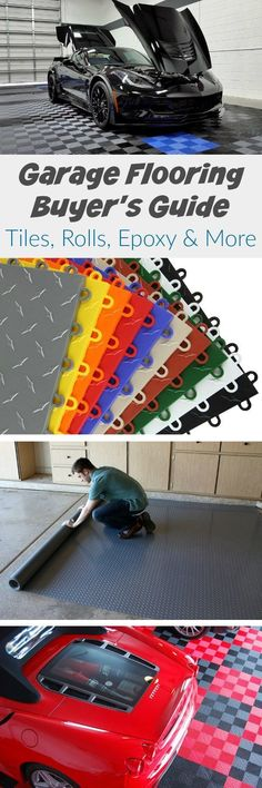 How to Choose Garage Flooring: Tiles, Rolls, Epoxy & More. Your definitive guide… How to Choose Garage Flooring: Tiles, Rolls, Epoxy & More. Your definitive guide to choosing the best garage flooring at the best price. Garage Studio, Garage Shop, Diy Garage, Garage Workshop, Garage Plans, Garage Doors, Garage Ideas, Door Ideas, Garage Cabinets
