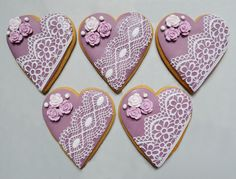 Lace Cookies, Mother's Day Cookies, Summer Cookies, Flower Cookies, Heart Cookies, Royal Icing Cookies, Cupcake Cookies, Cookie Bouquet, Cookie Favors