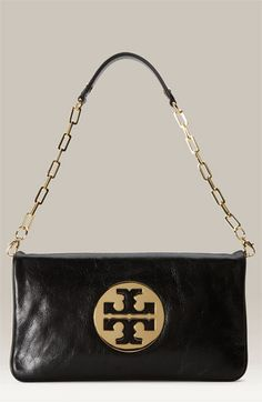 Tory Burch 'Reva' Clutch Black/ Gold