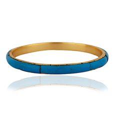 18K Yellow Gold Plated Turquoise Sleek Fashion by Silviatojewelry