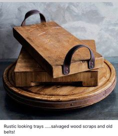 scraps of leather and pieces of scrap wood to create a DIY rustic wooden tray with leather handles!Use scraps of leather and pieces of scrap wood to create a DIY rustic wooden tray with leather handles! Rustic Furniture, Diy Furniture, Furniture Plans, Antique Furniture, Outdoor Furniture, Furniture Design, Furniture Stores, Furniture Makeover, Bedroom Furniture