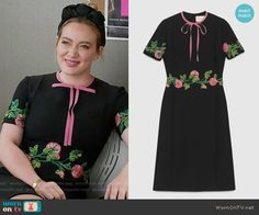Kelsey's black floral embroidered dress with pink bow on Younger.  Outfit Details: https://wornontv.net/61585/ #Younger