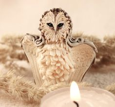 Owl Sculpture Fantasy Totem Mascot Amulet  art by DemiurgusDreams, $40.00
