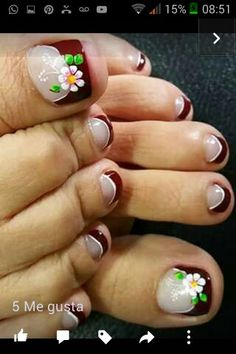 Flower Nail Designs, Pedicure Designs, Pedicure Nail Art, Toe Nail Designs, Toe Nail Art, Feet Nail Design, Feet Nails, Toenails, Cute Toe Nails