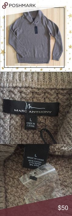 Marc Anthony Shawl Collar Sweater (Gy23V10B) Cotton blend. Brown color. New with tag Marc Anthony Sweaters V-Neck
