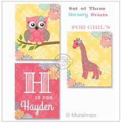 Nursery Owl Giraffe Print wall art Set of three 8x 10 by MuralMAX