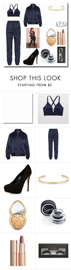 """""""Casual Recreation of Ariana Grande's Outfit"""" by dangerousmistake ❤ liked on Polyvore featuring Aerie, Markus Lupfer, Versus, Charles David, Jennifer Fisher, Too Faced Cosmetics, Sigma, Charlotte Tilbury, Boohoo and ArianaGrande"""