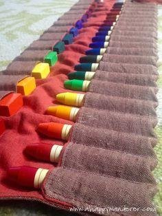 crayon roll-up... #crayon #rollup #beeswax #waldorf #diy #handmade