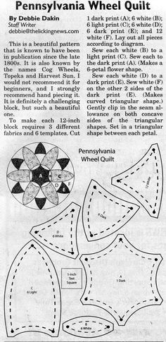 Quilt Pattern ~ Pennsylvania Wheel. I tried this pattern. Whoa.....It is much more difficult then it seems.