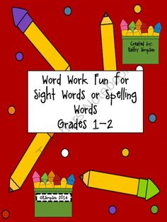 Word Work for Sight Words and Spelling for 1st and 2nd Grade! Enter for your chance to win 1 of 10.  Word Work Fun for Sight Words or Spelling Words Grades 1-2 (14 pages) from Sunshine and Lollipops on TeachersNotebook.com (Ends on on 7-28-2014)  School will be starting before you know it and we will be back to sight words, spelling, schedules and students! Why not get a head start on some quick worksheets to be used daily in your classroom! This product encourages students to practice ...