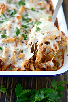 For an easy weeknight dinner this Italian sausage mostaccioli is extremely easy to throw together. Sausage Recipes, Pasta Recipes, Dinner Recipes, Cooking Recipes, Lasagna Recipes, Crockpot Recipes, Baked Mostaccioli, Cheap Easy Meals, Easy Dinners
