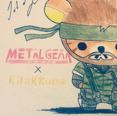 Metal Gear Solid x Rilakkuma.    I messed this up a bit :s. Went over the wrong lines on the beard in marker and so the beard ended up looking a bit strange so i just ended up rushing everything in the end but overall not bad. I'll probably do the whole thing over again and have it looking lovely next time :D     #metalgearsolid #rilakkuma #sanrio #nakedsnake #art #cute #konami #kojima