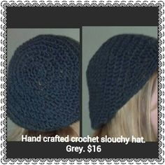 Hand crafted crochet slouchy hat. $16