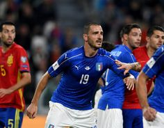 Leonardo Bonucci of Italy looks on during the FIFA 2018 World Cup Qualifier between Italy and Spain at Juventus Stadium on October 6, 2016 in Turin, Italy.