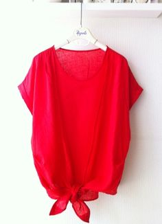 Red Front Ribbon Blouse