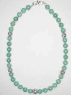 large turquoise and Bali silver necklace