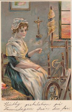 Spinning Wheel Full Color & Gold Antique by LangdonsListPhotos, $12.00