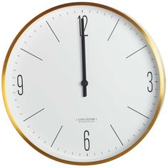 A simple but elegant wall clock by House Doctor, made from aluminium. The clock, in gold and white, suits either a modern or traditional interior House Doctor, Couture, Gold Wall Clock, Wall Clocks, Contemporary Clocks, Kartell, Traditional Interior, Scandinavian Living, Gull
