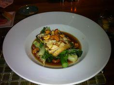 Yew @Four Seasons Hotel Vancouver. Sablefish. Lime, Soy & Honey Glazed Asian Vegetables, Kombu Broth, Spicy Cashews