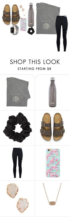 """""""Dailyyyyyyyy"""" by madeline2333 ❤ liked on Polyvore featuring S'well, Miss Selfridge, Birkenstock, NIKE, Lilly Pulitzer and Kendra Scott"""