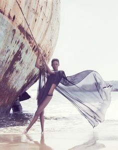 Arise Magazine Editorial: Ship Shape. Check out the latest editorial for Arise Magazine. It's called Ship Shape, and features models Bruna and Kalu in perfect form modeling some amazing swimwear looks in front of a pair of derelict rusty shipwrecks.