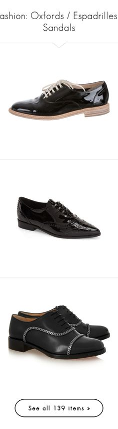 """Fashion: Oxfords / Espadrilles / Sandals"" by katiasitems on Polyvore featuring shoes, oxfords, black, black patent oxfords, black oxfords, black patent leather shoes, black patent shoes, round toe shoes, black patent and black lace up shoes"