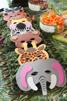 Safari / Jungle Themed First Birthday Party - Cheap Party Supplies & Decorations - Foam Animal Masks. Now your little monkeys can dress up as their favourite zoo animals at a zoo themed birthday party! Jungle Theme Parties, Jungle Theme Birthday, Safari Theme Party, Animal Birthday, 3rd Birthday Parties, Birthday Bash, Birthday Ideas, Jungle Book Party, Jungle Theme Decorations
