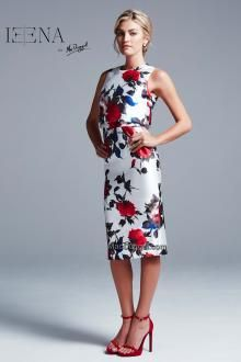 Floral, rose, below the knee, fitted dress.  IEENA For Mac Duggal Style 30262i.