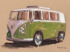 Art Print Car Painting VW Van Hippie Geekery 5x7 on 8x10 - Green Bus by David Lloyd. $14.00, via Etsy.