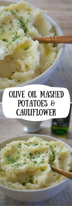 Olive Oil Mashed Potatoes and Cauliflower. A creamy, vegan mash that put a healthy spin on your spuds.