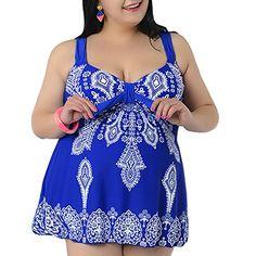 NONWE Womens PlusSize Swimsuit Retro Print Two Piece Tankini Swimwear 6121080217XL US 2224W