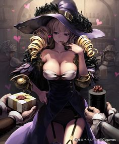 """""""shy-azusa:  1girl :p armor bar beer belt blonde hair box breasts chocolate cleavage collarbone drill hair feathers garter straps gift gift box hand on hip hat heart large breasts lena (zoal) long hair purple eyes shingeki no bahamut smile tongue tongue out valentine witch hat  """""""