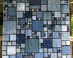 Stained Glass/Denim Quilt Pattern by LucysQuilts. Best denim pattern i have seen yet! Denim Quilts, Denim Quilt Patterns, Blue Jean Quilts, Batik Quilts, Patchwork Quilting, Rag Quilt, Quilt Blocks, Quilting Fabric, Crazy Quilting