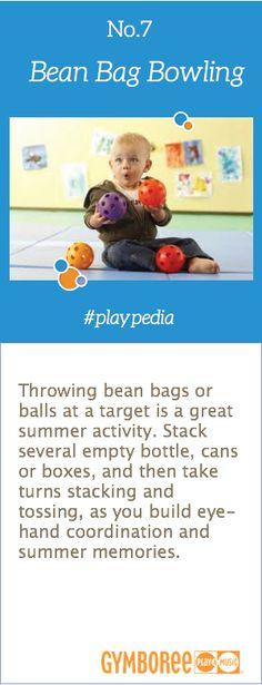 Play Bean Bag Bowling to build hand-eye coordination! #playpedia
