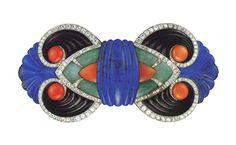 Boucheron - art deco hardstone and diamond brooch. c1925. Designed by Lucien Hirtz.