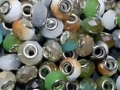 Electroplate Faceted Glass European Beads, Large Hole Beads, with Silver Plated Brass Cores, Mixed Color, 14x9.5mm, Hole: 5mm  #088 by SkylineBeads on Etsy