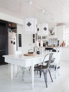 white kitchen, dining, via 79 Ideas