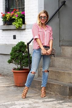 Christine Cameron of MY Style Pill wearing a red and white Zara top with ripped jeans and Schutz heels 3