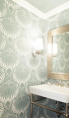 Chic+powder+room+features+walls+clad+in+green+wallpaper,+Farrow+