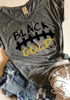 Football Mom Shirts, Cheer Shirts, Vinyl Shirts, Team Shirts, Sports Shirts, School Spirit Shirts, School Shirts, Black And Gold Shirt, Game Day Shirts